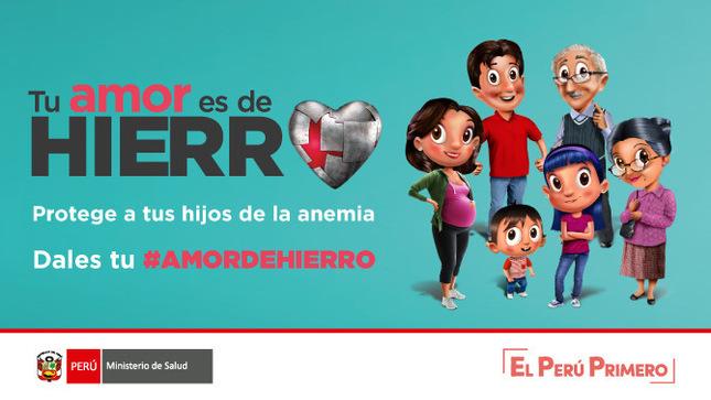 Imagen de la campaña 'Tu amor es de hierro'. Campaña del Ministerio de Salud de Perú.