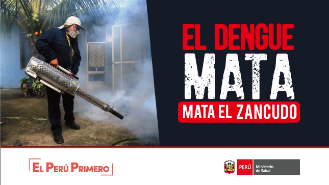 """Imagen de la campaña """"El dengue mata, mata el zancudo"""". En la imagen se ve a una persona fumigando."""