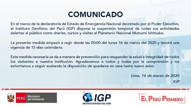 Ver campaña IGP informa en relación a disposiciones hechas frente al Covid-19