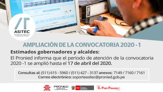Ver campaña AMPLIACIÓN DE LA CONVOCATORIA 2020 - 1