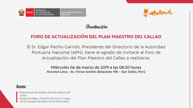 Ver campaña Foro de Actualización Plan Maestro del Callao