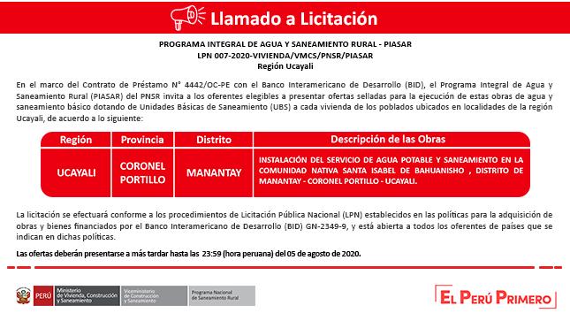 Ver campaña Licitación PIASAR - Ucayali
