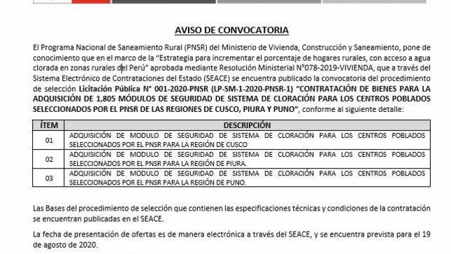 """Licitación Pública N° 001-2020-PNSR (LP-SM-1-2020-PNSR-1) """"Contratación de Bienes para la adquisición de 1,805 Módulos de seguridad de sistema de cloración para los centros Poblados en las Regiones de Cusco, Piura y Puno"""""""