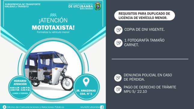 ¡ATENCIÓN AMIGOS MOTOTAXISTAS!