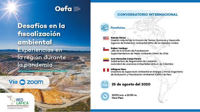 """Conversatorio Internacional """"Desafíos en la fiscalización ambiental: Experiencias en la región durante la pandemia"""""""