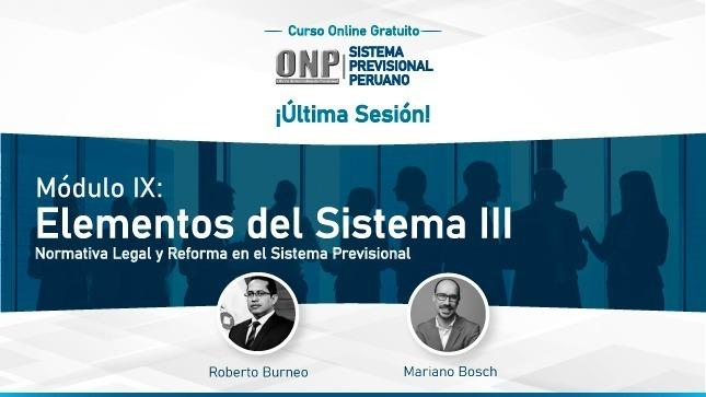 Ver campaña Módulo IX: Las consideraciones para una reforma previsional fueron abordadas durante la última sesión del Curso Virtual organizado por la ONP