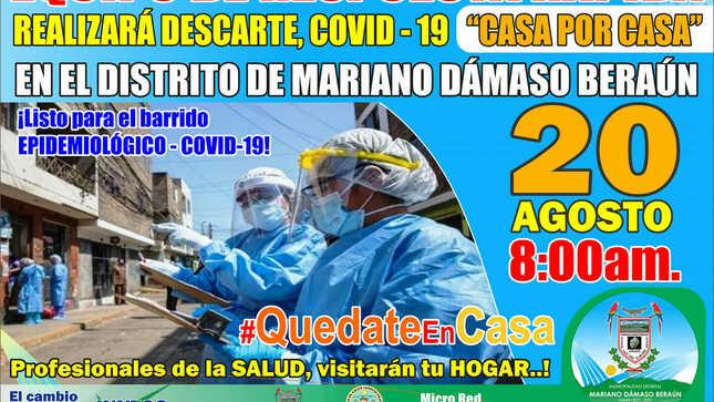 """Ver campaña CAMPAÑA DE DESCARTE DEL COVID-19 CON PRUEBAS RÁPIDA (ERR) """"CASA POR CASA"""""""