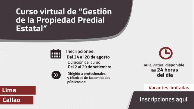 """Ver campaña Curso virtual de """"Gestión de la propiedad Estatal"""" para Lima y Callao"""