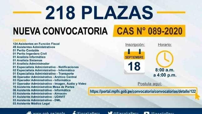 Ver campaña NUEVA CONVOCATORIA DE 218 PLAZAS - DISTRITO FISCAL LIMA SUR