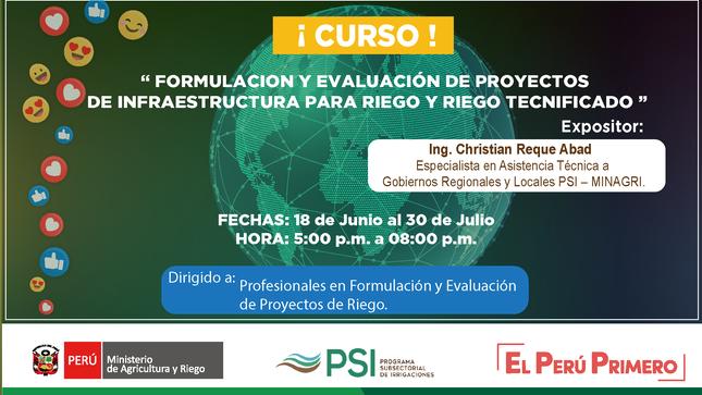 Ver campaña Piura: PSI clausura curso de Formulación y Evaluación de proyectos de infraestructura para riego y riego tecnificado.