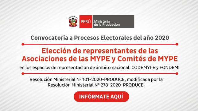 Ver campaña Elección de Representantes de las MYPE: Convocatoria a Procesos Electorales 2020
