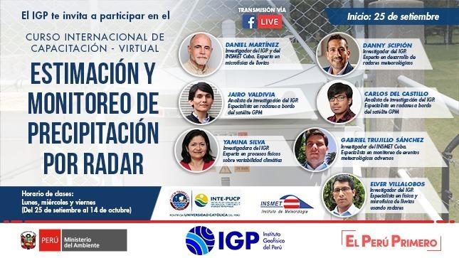 """Ver campaña IGP te invita a participar del curso: """"Estimación y monitoreo de precipitación por radar"""""""