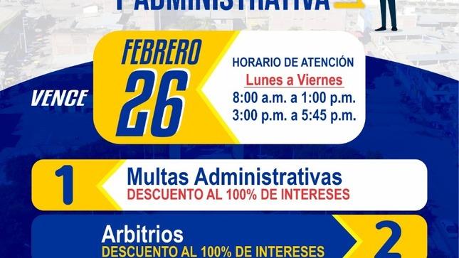 ¡Atención vecino!, la Municipalidad de Utcubamba te ofrece Amnistía Tributaria hasta el 26 de febrero.