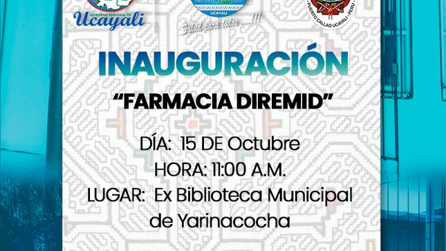 INVITACIÓN INAUGURACIÓN FARMACIA DIREMID