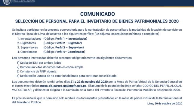 Ver campaña COMUNICADO: SELECCIÓN DE PERSONAL PARA EL INVENTARIO  DE BIENES PATRIMONIALES 2020