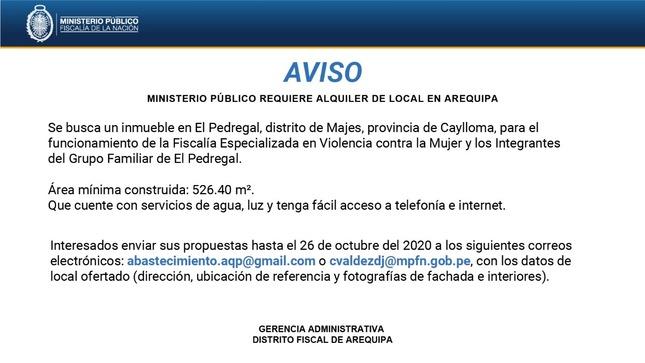 Ver campaña AREQUIPA: AVISO DE ARRENDAMIENTO DE LOCAL