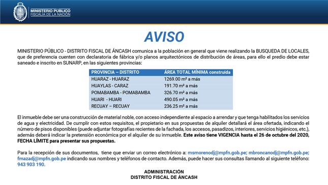 Ver campaña Aviso: Búsqueda de locales - Distrito Fiscal de Áncash