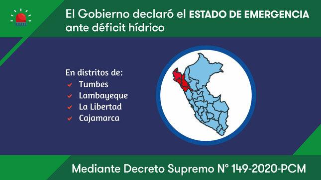 Declaran Estado de Emergencia por déficit hídrico