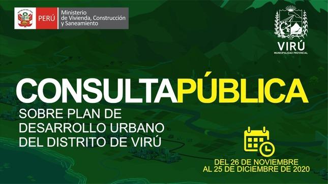 Ver campaña Consulta Pública: Plan de Desarrollo Urbano del Distrito de Virú