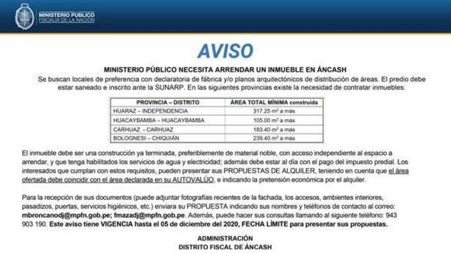 Ver campaña AVISO: DISTRITO FISCAL DE ÁNCASH