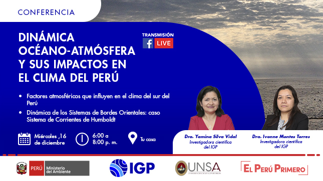 """El IGP te invita a participar en la conferencia """"Dinámica océano-atmósfera y sus impactos en el clima del Perú"""""""