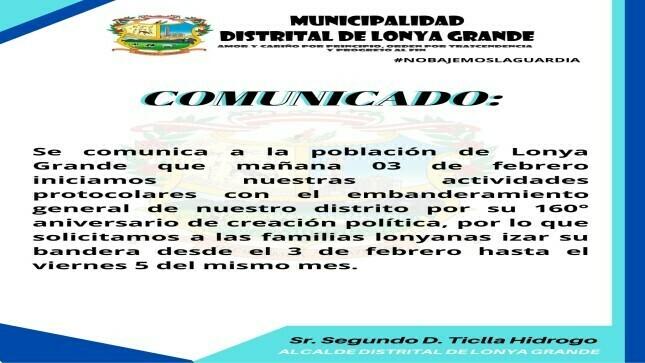 Ver campaña Embanderamiento General de Nuestro Distrito por su 160° Aniversario de Creación Política