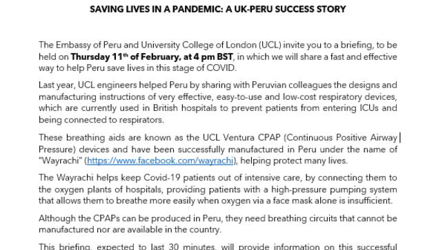 Charla: Lives in a Pandemic: A UK-Peru success story