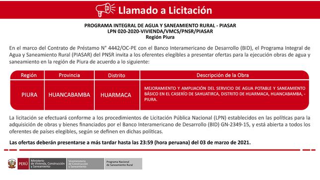 Ver campaña LPN 020-2020-VIVIENDA/VMCS/PNSR/PIASAR - Región Piura
