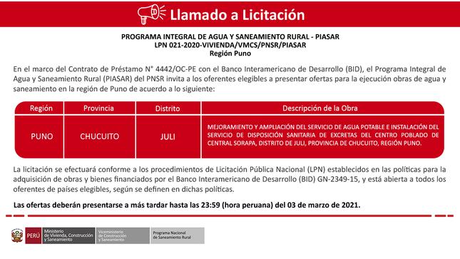 Ver campaña LPN 021-2020-VIVIENDA/VMCS/PNSR/PIASAR - Región Puno