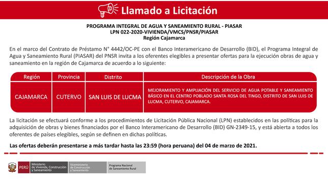 Ver campaña LPN 022-2020-VIVIENDA/VMCS/PNSR/PIASAR - Región Cajamarca