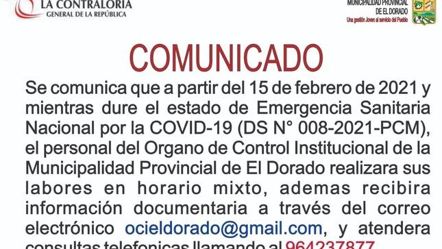 Atención vía correo electrónico o Teléfono  del OCI - Órgano de Control Institucional