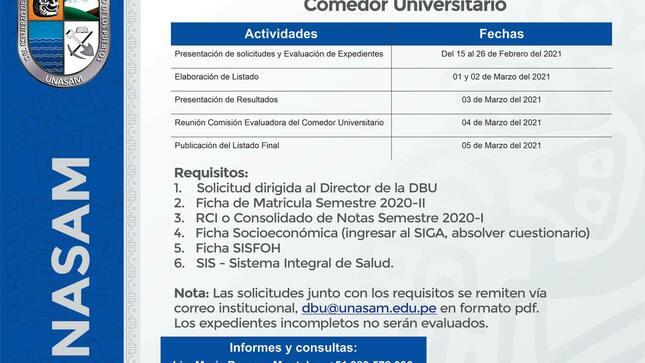 Convocatoria: Comedor Universitario Santiaguino