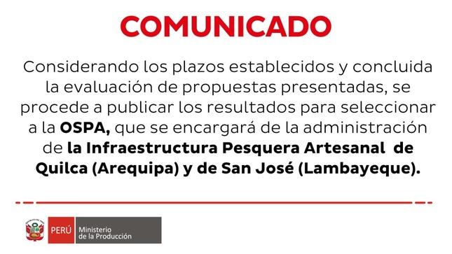 Proceso de selección para la administración del IPA Quilca y San José