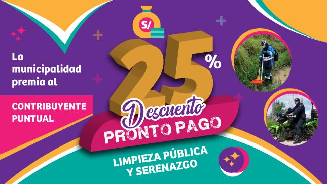 Ver campaña 25% Descuento pronto pago Limpieza Pública y Serenazgo