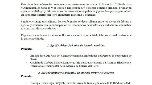 """Ver campaña Ciclo de Conferencias """"El Perú y el mar: hacia una Política Exterior Oceánica"""""""