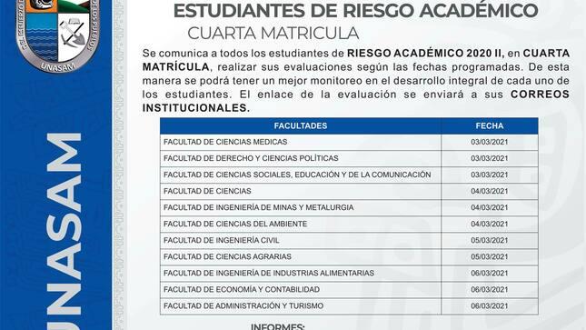 Ver campaña Cronograma de evaluación a estudiantes en riesgo académico