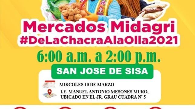 Mercado MIDAGRI  En el Distrito de San Jose de Sisa,  Miércoles 10 de Marzo