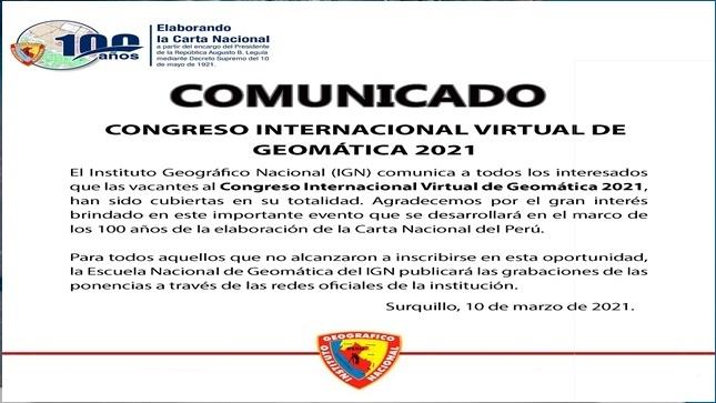 Ver campaña Congreso Internacional de Geomática 2021 del 28 al 30 de Abril