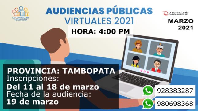 Ver campaña Audiencia Pública Provincial Virtual - Tambopata 2021