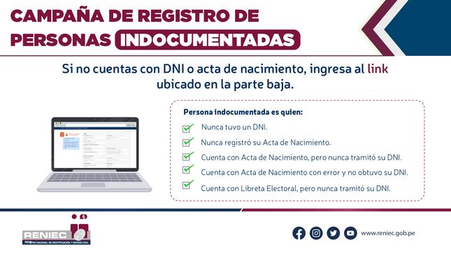 Ver campaña Campaña de registro de personas indocumentadas