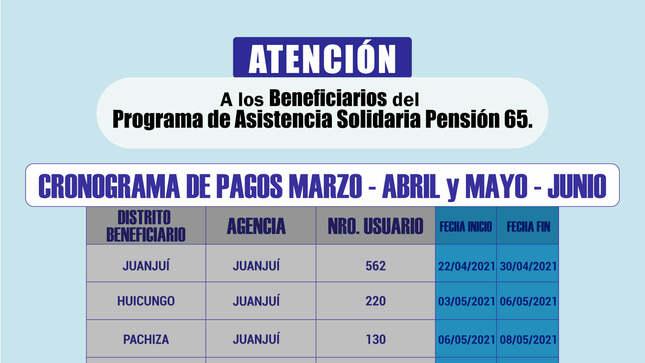 Ver campaña Cronograma de Pagos a Beneficiarios de PENSIÓN 65