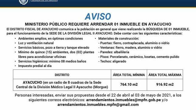Ver campaña Aviso: Arrendamiento de inmueble - Ayacucho