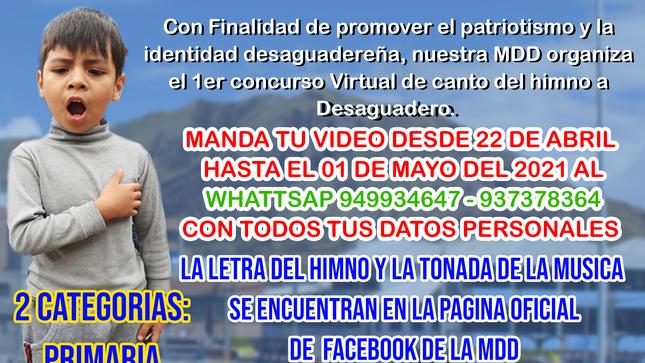 I concurso virtual de canto del himno a Desaguadero