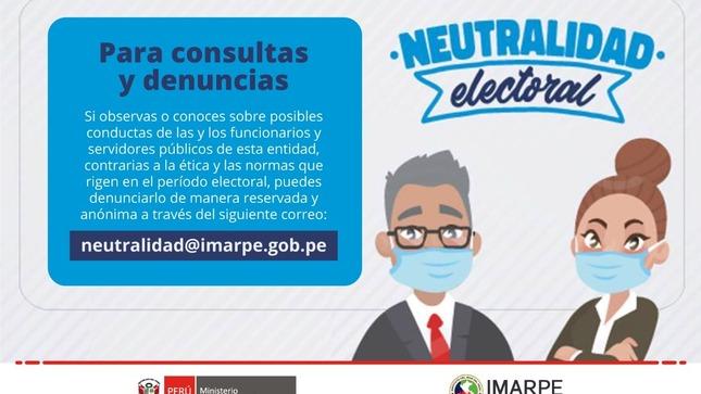 Correo para consultas y denuncias por neutralidad electoral