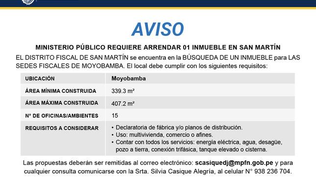 Aviso: Arrendamiento de inmueble - Moyobamba