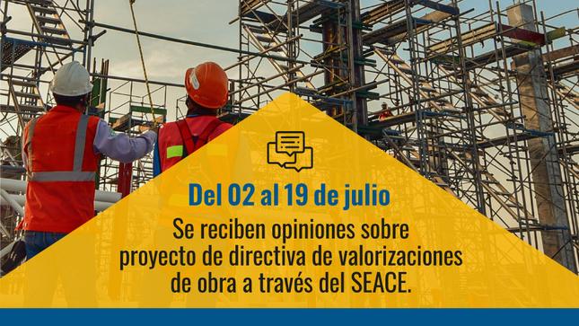 Proyecto de Directiva de valorizaciones de obra - SEACE