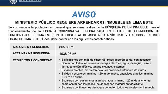Aviso: Arrendamiento de inmueble - Lima Este