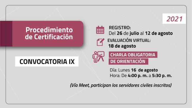 Procedimiento de Certificación - convocatoria IX