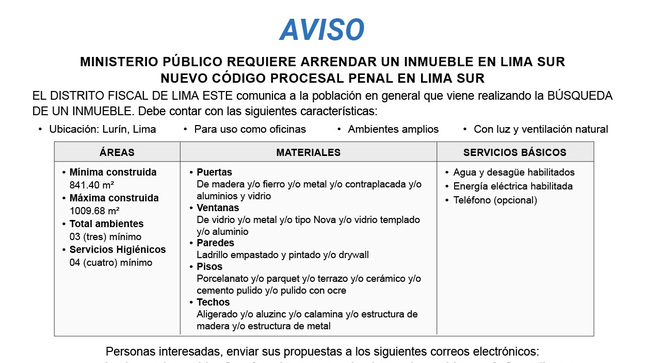 Aviso: Arrendamiento de inmueble - Lima Sur