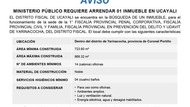 Aviso: Arrendamiento de inmueble - Ucayali